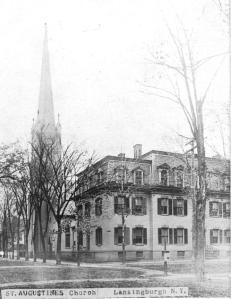 Early photo of bell tower in our over 150 year history. Year is not known of photo, but it is clear that the steeple could be seen from many miles away.
